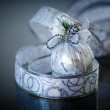 Christmas card with silver balls and ribbon — Foto de Stock