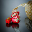 Decorative red heart with ribbon — Foto de Stock