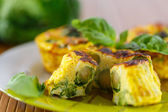 Baked omelet with brussels sprouts — Stock Photo