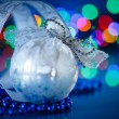 Stock Photo: Silver Christmas ball