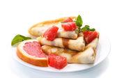 Pancakes with grapefruit — Stock Photo