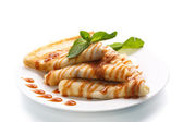 Pancakes with syrup and mint — Stock Photo