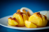 Baked potatoes with bacon — Stock Photo