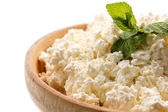 Fresh homemade cheese in a bowl — Stockfoto