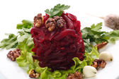 Boiled beet and nuts — Stock Photo