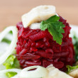 Salad with boiled beet and herring — Stock Photo