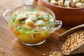 Pea soup with croutons — Stock Photo