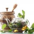 Tea with honey and mint — Stock Photo