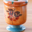 Wooden jar style decoupage — Stock Photo