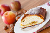 Sweet strudel with apples — Stock Photo