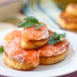 Foto de Stock  : Fried toast with salted salmon