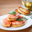 Fried toast with salted salmon — Stock Photo