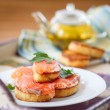 Fried toast with salted salmon — Stock Photo #40673845