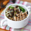 Boiled buckwheat with mushrooms — Stock Photo #41909537