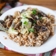 Boiled buckwheat with mushrooms — Stock Photo #41909541