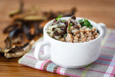 Boiled buckwheat with mushrooms — Stock Photo