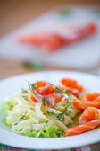 Vermicelli with salted salmon and sauce — Stock Photo
