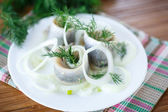 Salted herring with onion rings and dill — Stock Photo