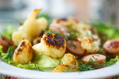 Fried cauliflower with sausages  — Stock Photo