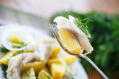 Salted herring with boiled potatoes  — Stock Photo
