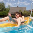 Two teenagers swimming in the pool — Stock Photo #46890855