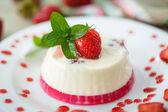 Milk with strawberry jelly  — Stock Photo