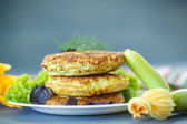 Fried zucchini fritters  — Stock Photo