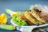 Fried zucchini fritters  — Stock Photo