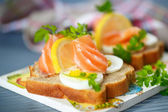 Sandwich with salted salmon — Stock Photo