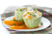 Zucchini baked with egg and cheese — Stock Photo