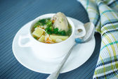 Chicken soup with noodles — Stock Photo