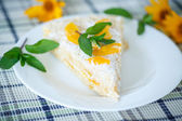 Waffle cake with peaches and cream — Stock Photo