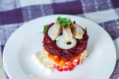 Russian traditional herring salad — Stock Photo