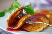 Pancakes with jam — Stock Photo
