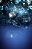 Christmas ball with fir branch — Stock Photo