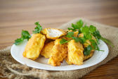 Chicken fried in batter — Stock Photo