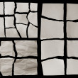 Torn Real Paper Scraps On Black Background - 