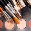 Set of professional brushes with the Pallette of shadows — Stock Photo