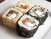 Traditional fresh japanese sushi rolls — Foto Stock