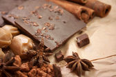 Delicious chocolates and spices  — Stock Photo