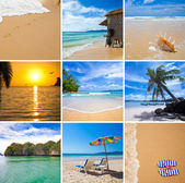 Tropical beaches vacation collage — Stock Photo