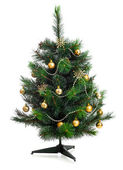 Small decorated christmas tree isolated on white — Stock Photo