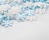 Snowflakes pastry decoration macro with narrow focus — Stock Photo