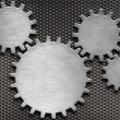 Metal gears and cogs background — Stock Photo