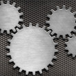 Metal gears and cogs background - Stock Photo