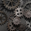 rusty abstrata engrenagens antigas peças de máquinas — Foto Stock