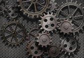 Abstract rusty gears old machine parts — Stock Photo