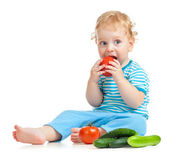 Child eating healthy food isolated — Stock Photo