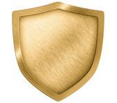 Golden metal shield or crest isolated on white — Stock Photo