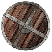 Old viking wooden shield with metal border isolated on white — Stock Photo